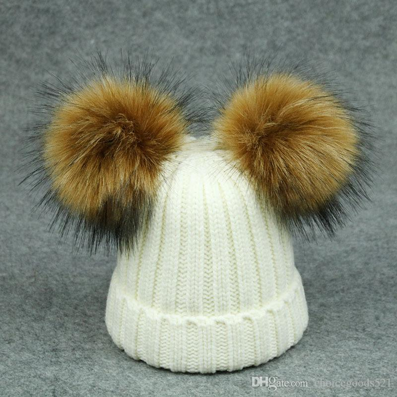 Fashion Children Winter Fox Fur Hat Girls Boys 2 Pompoms Ball Baby Beanies  Cap Kids Crochet Knitted Hats UK 2019 From Choicegoods521 953c1c5463f