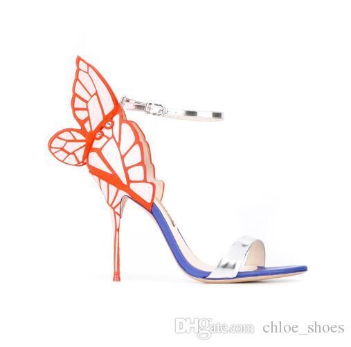 2017 Yeni Ayakkabı Kadın Geri Kelebek Sandalet Tatlı Chic Yüksek Topuklu Tasarımcı Mujer Sandalet Yan Ayak Bileği Kayışı Seksi Kadın 'Ayakkabı Artı