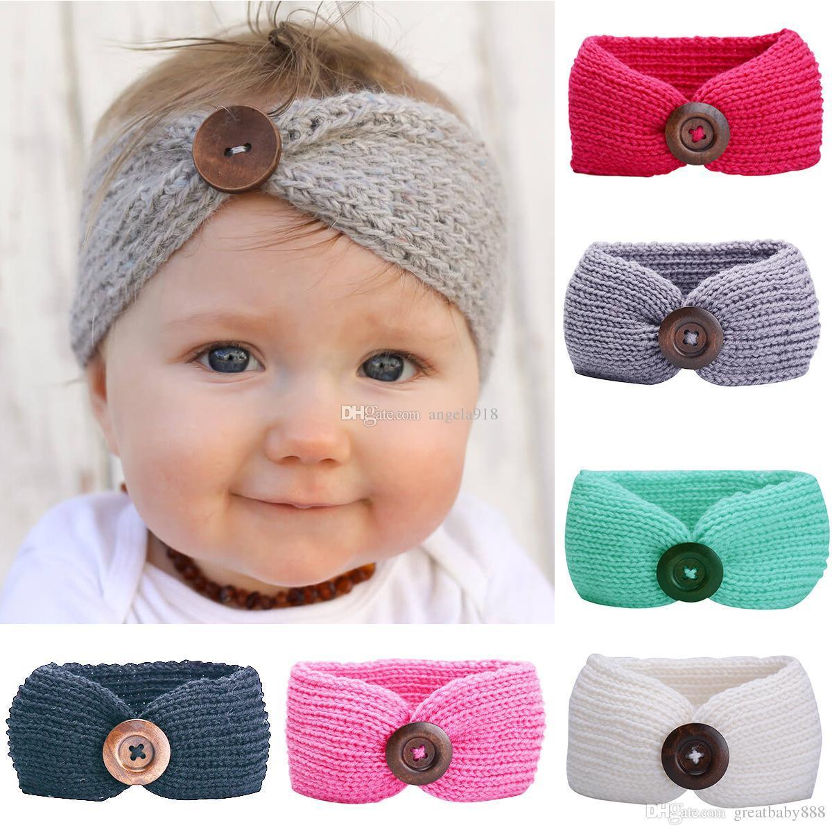 Großhandel 15 Zoll Baby Mädchen Mode Wolle Häkeln Stirnband Stricken ...