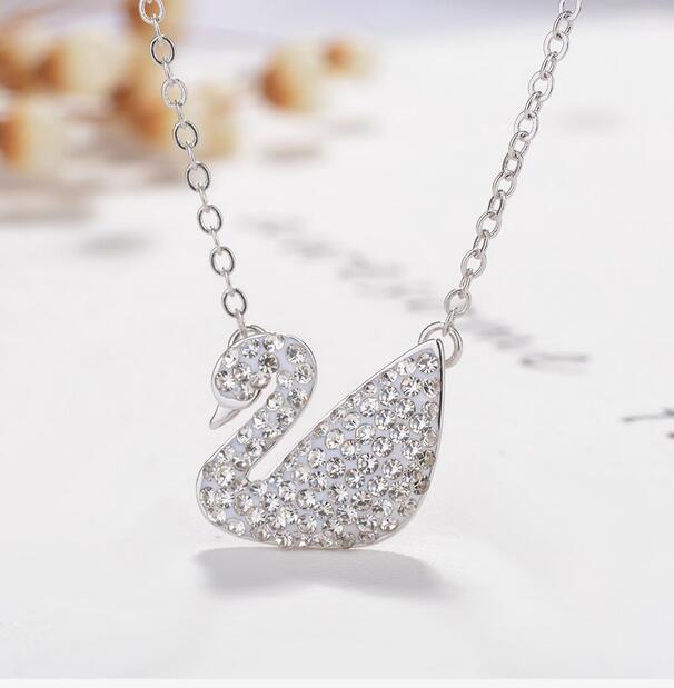 Kadın Moda Kuğu Kristal Rhinestone Gümüş Zincir Kolye Kolye Takı 6 Renk lüks kolye takı ücretsiz kargo