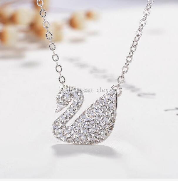 Monili di lusso delle collane di lusso dei monili della collana del pendente della catena dell'argento del cristallo del rhinestone di modo delle donne 6 trasporto libero dei monili