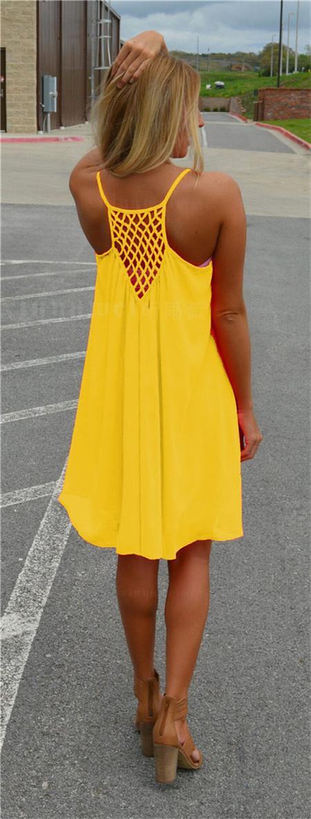 I vestiti senza maniche casuali sexy delle donne del vestito dalla spiaggia del partito di sera di estate delle donne mini vestito chiffon delle donne del BOHO liberano il trasporto