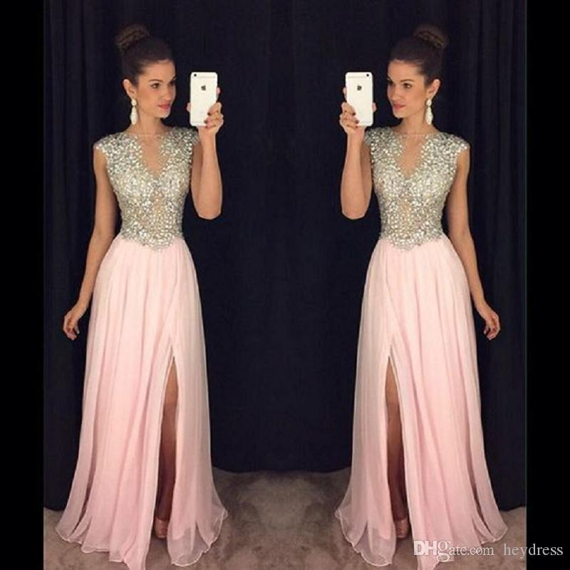 2017 Luxury Crystal Beaded Prom Dresses Sheer Blush Pink Slit Sexy ...