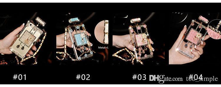 Custodia protettiva trasparente di lusso in metallo con catena in metallo con diamante TPU iPhone 7 6 6s Samsung Galaxy S8 Plus S7 Cover