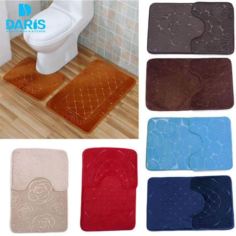 2018 wholesale bathroom u shaped mat set memory foam bath mats anti slip carpet for home hotel restroom decoration drop shipping from sophine08 - U Shape Hotel Decoration