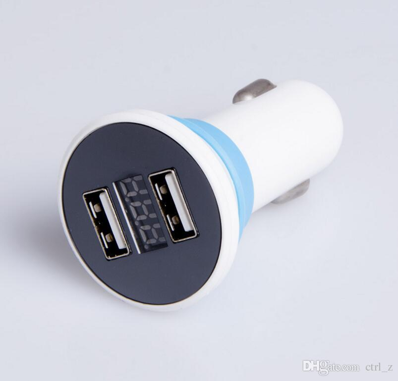 Car Charger 5V 2.1A Quick Charge Dual USB Port LED Display Cigarette Lighter Phone Adapter Car Voltage Diagnostic