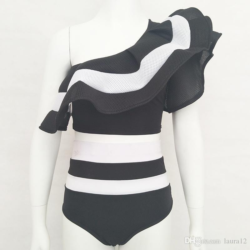 2017 neueste Sommer Zwei Stücke Frauen Bikini Sets Mode Schulter Rüschen Gestreifte Hohe Taille Strand Urlaub Bademode Kostenloser Versand