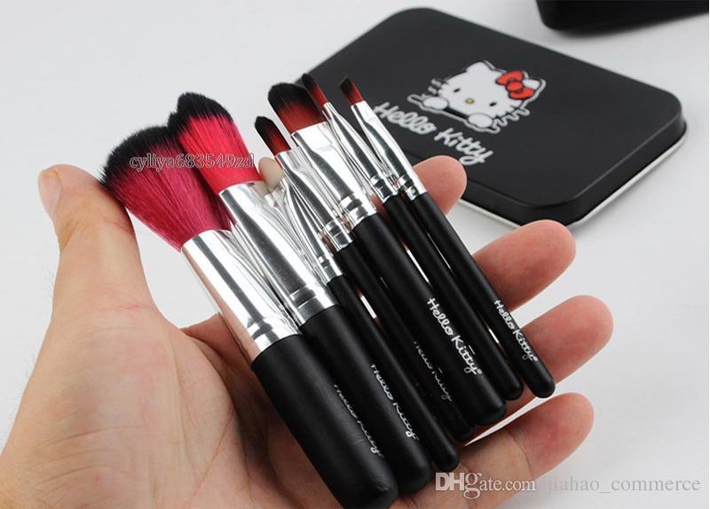 Bonjour Kitty Sweet rose noir Mini brosse de maquillage Kit de cosmétiques set de pinceis de maquiagem Kit de maquillage avec boîte métallique