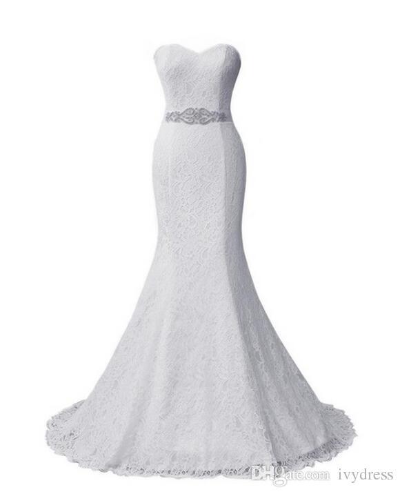 2017 New Elegant White Ivory Lace Wedding Gown Real Satin Mermaid ...