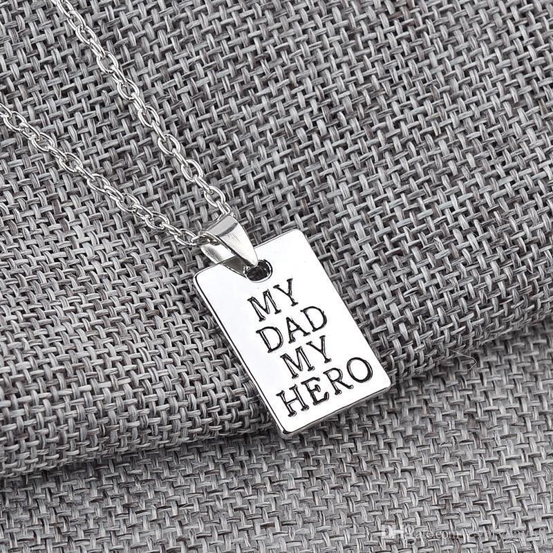 Padre Day letters My Dad My Hero Fashion Collana con ciondolo di fascino Gioielli in lega All'ingrosso Uomini d'amore Cool Best Gift Party