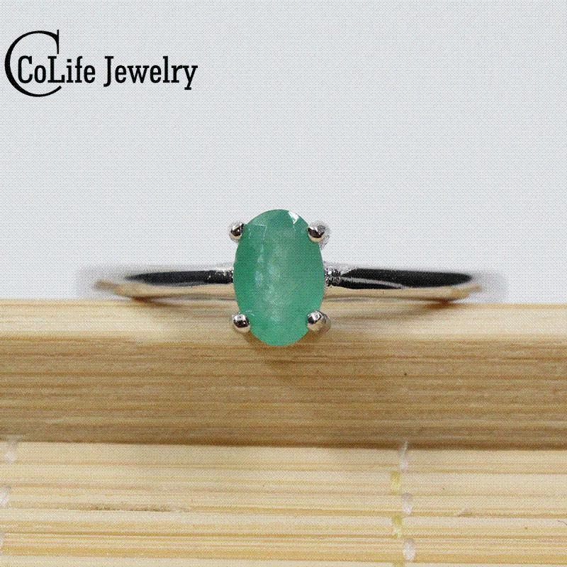 Promotion Natural Emerald Wedding Ring For Woman 04 Ct 4mm6mm