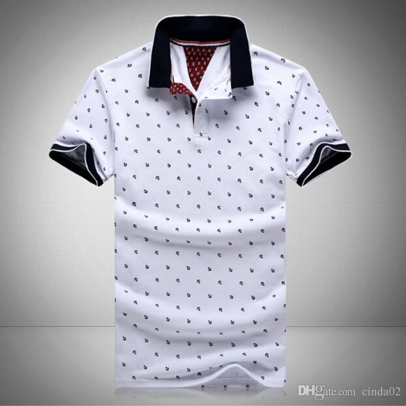 2021 رجل بولو مطبوعة قميص الكرتون 100٪٪ قصيرة الأكمام camisas الوقوف طوق الذكور القمصان M-3XL