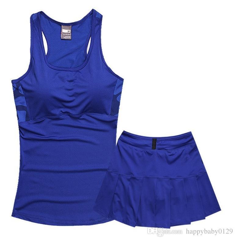 Avec une combinaison de poitrine poitrine tennis costume costume jupe jupe fitness femme jupe de sport sans manches Slim jupe