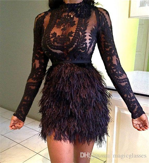 Design Fashion Christmas Feather Cocktail Dresses Black Celebrity Evening Dresses Mini Long Sleeves Short Party Prom Dress