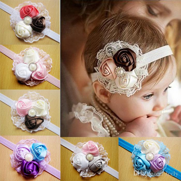Infant Baby Rose Flower Pearl Lace Headbands Kids Nylon Hairband Boutique Headwear Holiday Gift For Baby Hair Accessories 12 Color 24 pcs