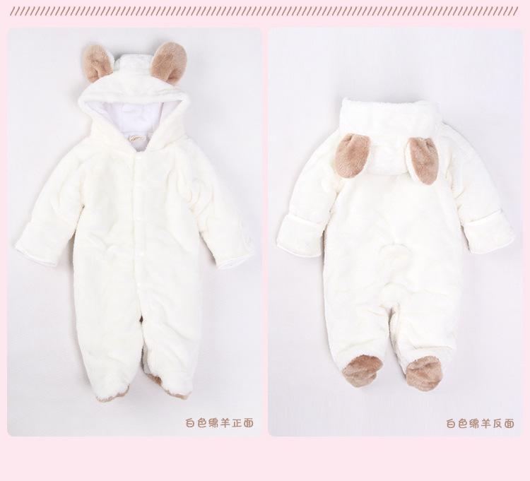 2017 Cartoon Flannel Newborn Baby Romper Costume Baby Clothes Animal Autumn Winter Warm Long Sleeve Baby Boy Clothes Cartoon Animal Jumpsuit
