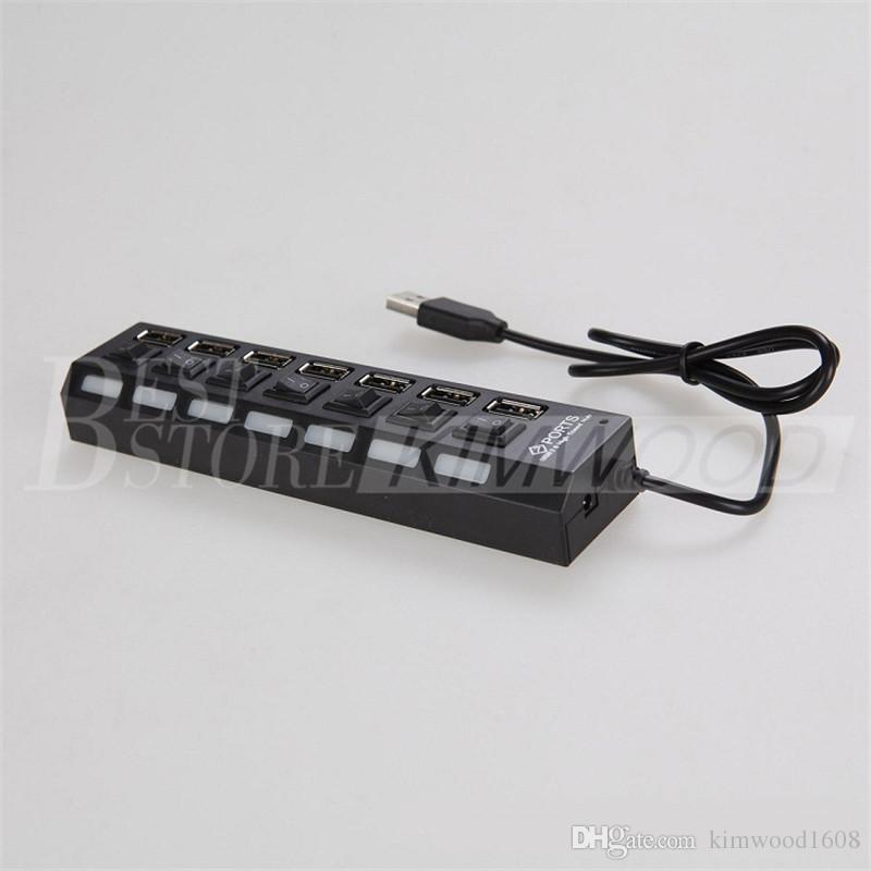 High Quality 7 Ports LED USB Hubs High Speed Adapter USB Hub With Power on/off Switch For PC Laptop Computer 60038 DHL