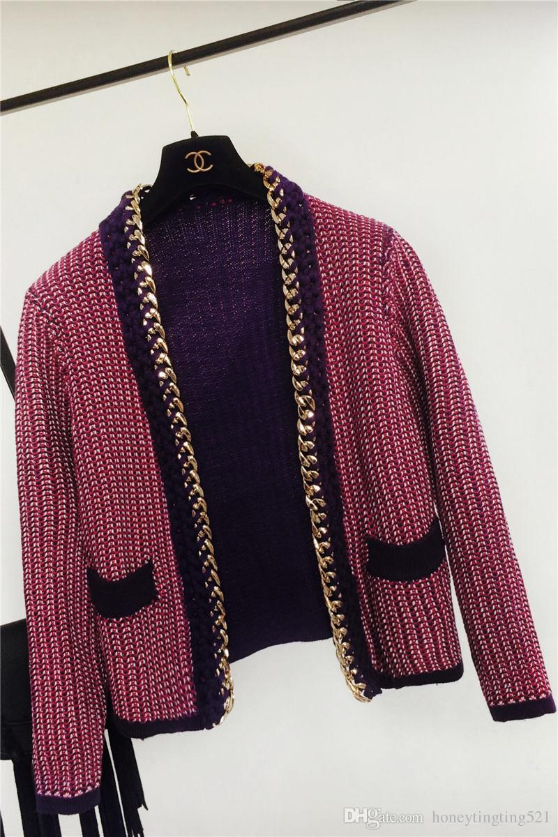 European fashion women's lovely fashion gold chain patchwork knitted long sleeve sweater cardigan short coat casacos OL spring top