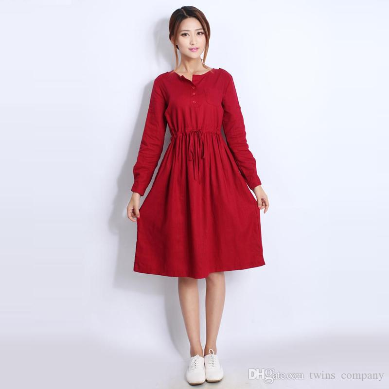 f5607320c1176 2019 Quality Linen Maternity Dresses Autumn Long Sleeve Clothes For Pregnant  Women Clothing For Pregnancy 2017 New Fashion From Twins_company, ...