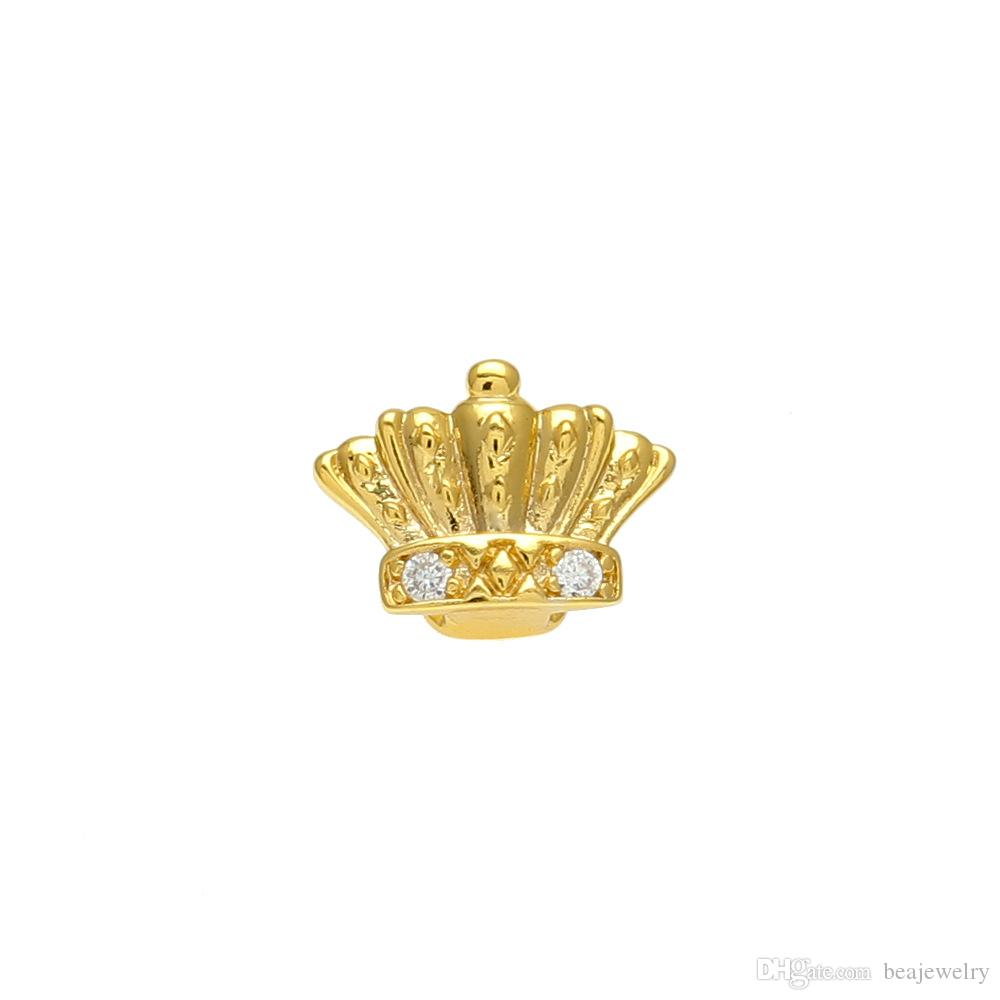 New Silver Gold Plated Crown shape Crystal Hip Hop Single Teeth Grillz Cap Top & Bottom Grill for Halloween Party Jewelry