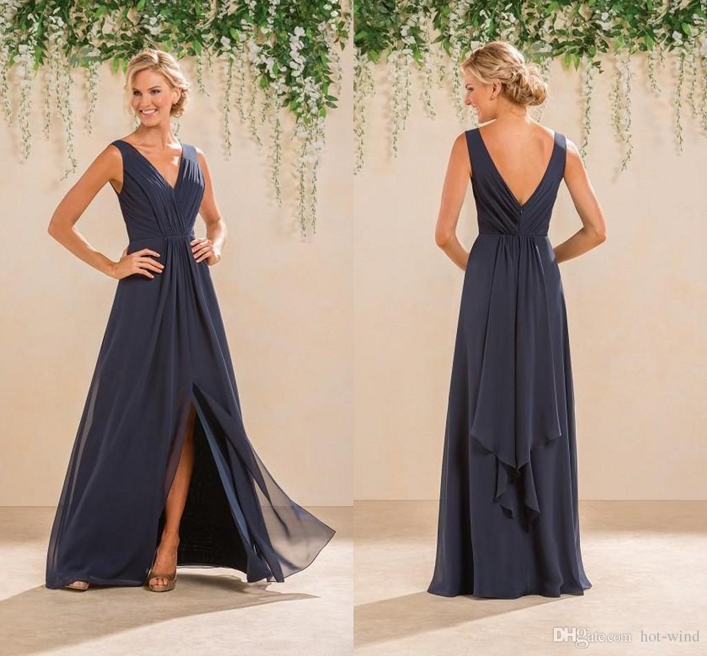 a09d55644c3a 2017 Cheap A Line Chiffon Bridesmaid Dresses V Neck Ruched Low Back Front  Split Summer Beach Garden Wedding Guest Evening Party Gowns Pale Blue  Bridesmaid ...