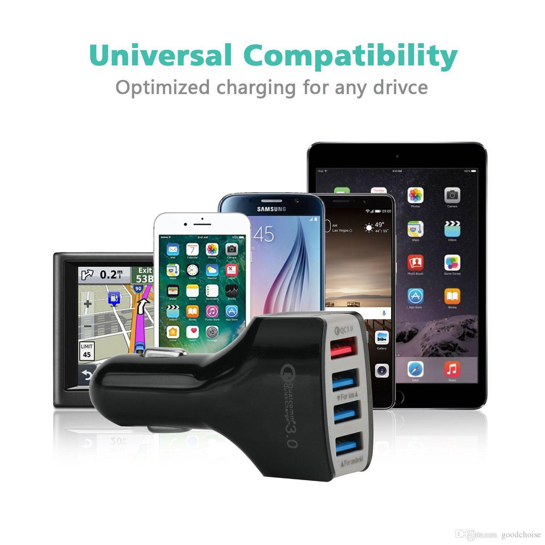 Chargeur rapide 3.0 chargeur de voiture adaptateur de charge rapide Chargeur voiture 4 USB voiture chargeur de téléphone portable pour téléphone intelligent