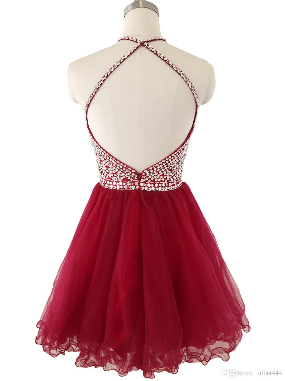 2019 Burgundy Short Homecoming Dresses Halter Sequins Beads Crystals Puffy Skirt Cocktail Party Gown Junior Prom Dresses Backless In Stock