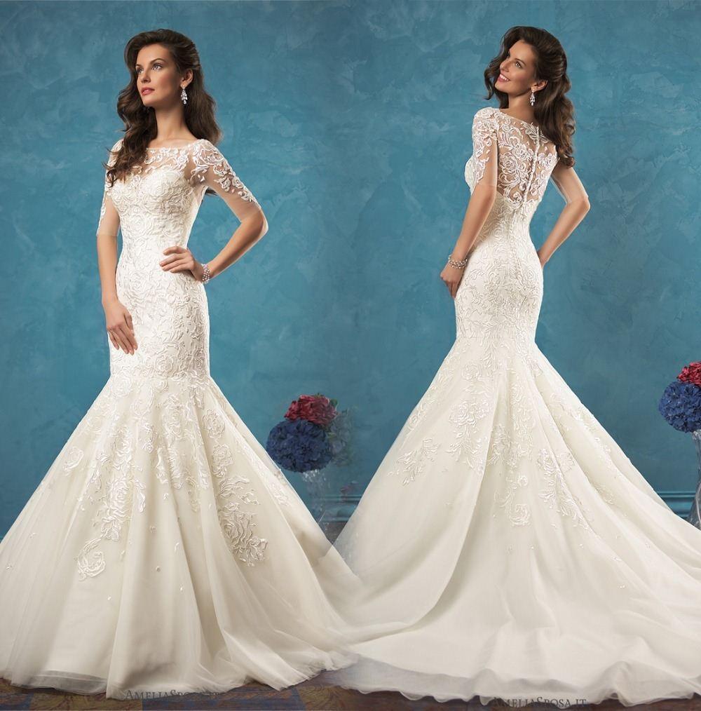 Vestidos De Novia 2017 New Arrival Wedding Dress Short Sleeves ...