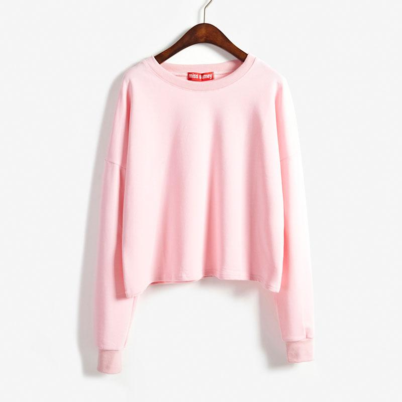 Wholesale 2015 Fall New Arrival Cute Kawaii Casual Candy Color Crop Tops  Basic Tee Shirts Long Sleeve For Women Girls Woman On Sale Limited T Shirts  24 ... 82be9d629cdd