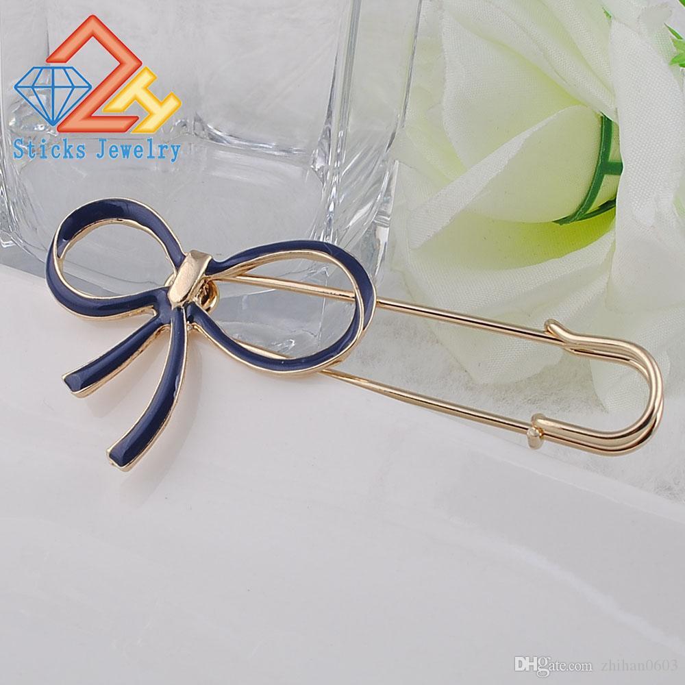 Spilla in lega d'oro con fiocco in cristallo di alta qualità donna