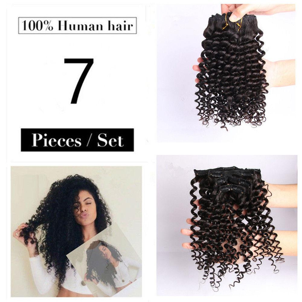 70g Brazilian Afro Kinky Curly Clip In Real Remy Human Hair Weft