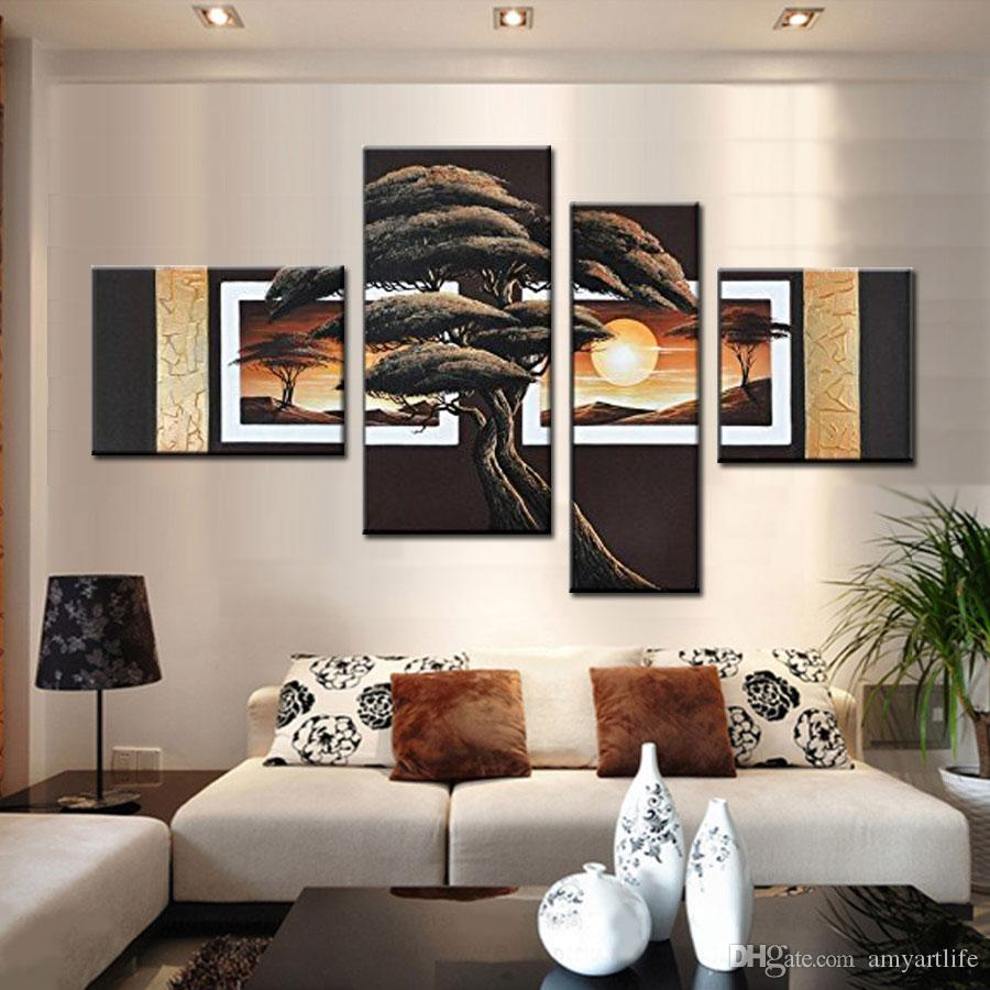 Large Handpainted Abstract Modern landscape Wall Painting pine Tree Oil Painting On Canvas sunrise Wall Decor Home Decoration