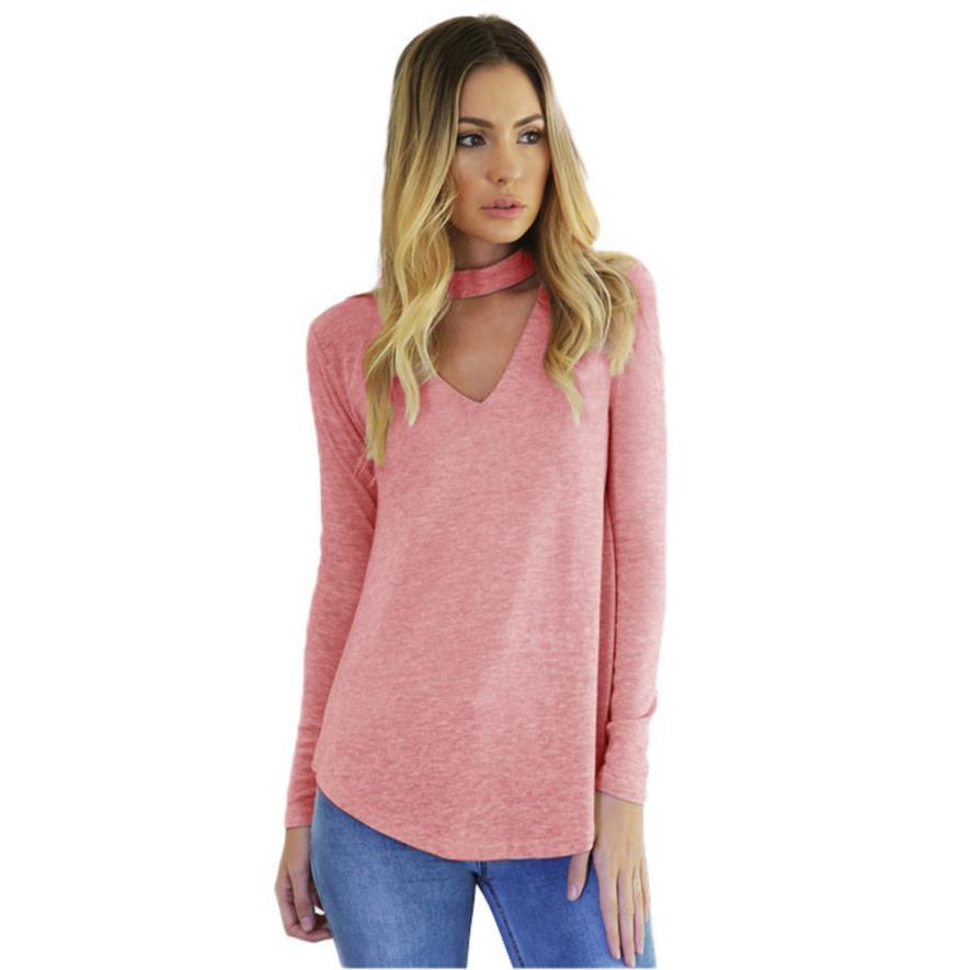 Wholesale Long Sleeve Tee Shirts Women Choker Neck Hollow Out Pink ...