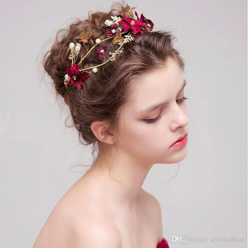 8060d2c7780 2019  35cm Gorgeous Gold Color Leaf Headband Pearl Hair Jewelry Crystal  Tiara Women Crown Wedding Hair Accessories Ornaments Bridal Gift Hairband  From ...