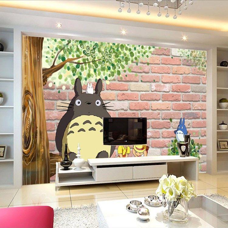 3d Japanese Anime Photo Wallpaper Lovely Totoro Wallpaper Custom Large Mural Cartoon Room Decor