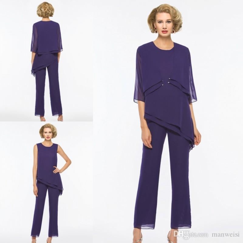 New Purple Mother Of The Bride Pant Suits With Jacket Cheap Chiffon ...
