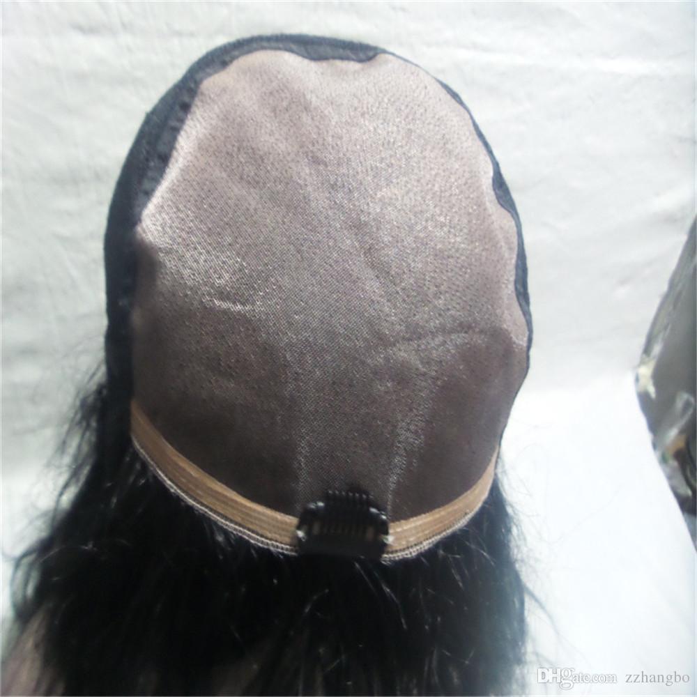 Perucas Cheias Do Laço Gaga Rainha preta peruca Cheia Do Laço Peruca de Cabelo Humano Sênior de seda Ondulado Longo Brasileiro Virgem Do Cabelo 100% Com Franja Para mulheres Cor 1B #