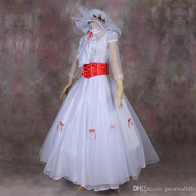 100%real Mary Poppins Cosplay Ball Gown With Hats Medieval Dress ...
