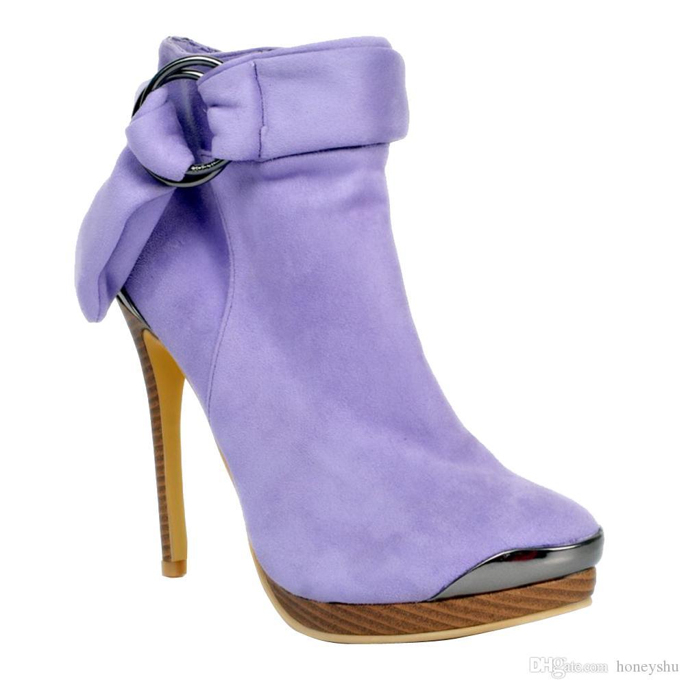 Kolnoo Womens 13 cm de Alta Plataforma de Salto Alto Tornozelo Cinta Botas de Inverno Partido Casual Sapatos Roxo XD227