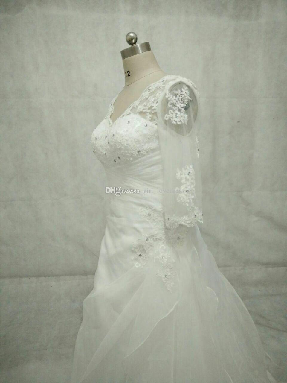 Real Photos Elegant Ivory Sweetheart Long Sleeve A-Line Beaded Lace Organza Wedding Dress Open Back with Zipper Floor Length Bridal Gown