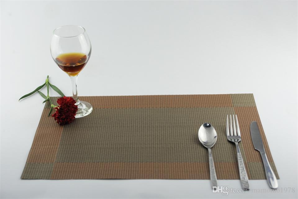 9 cores PVC cozinha dinning tabela de bambu Placemats toalha de mesa mat manteles individuais doilies cup tapetes coaster pad JI 0817