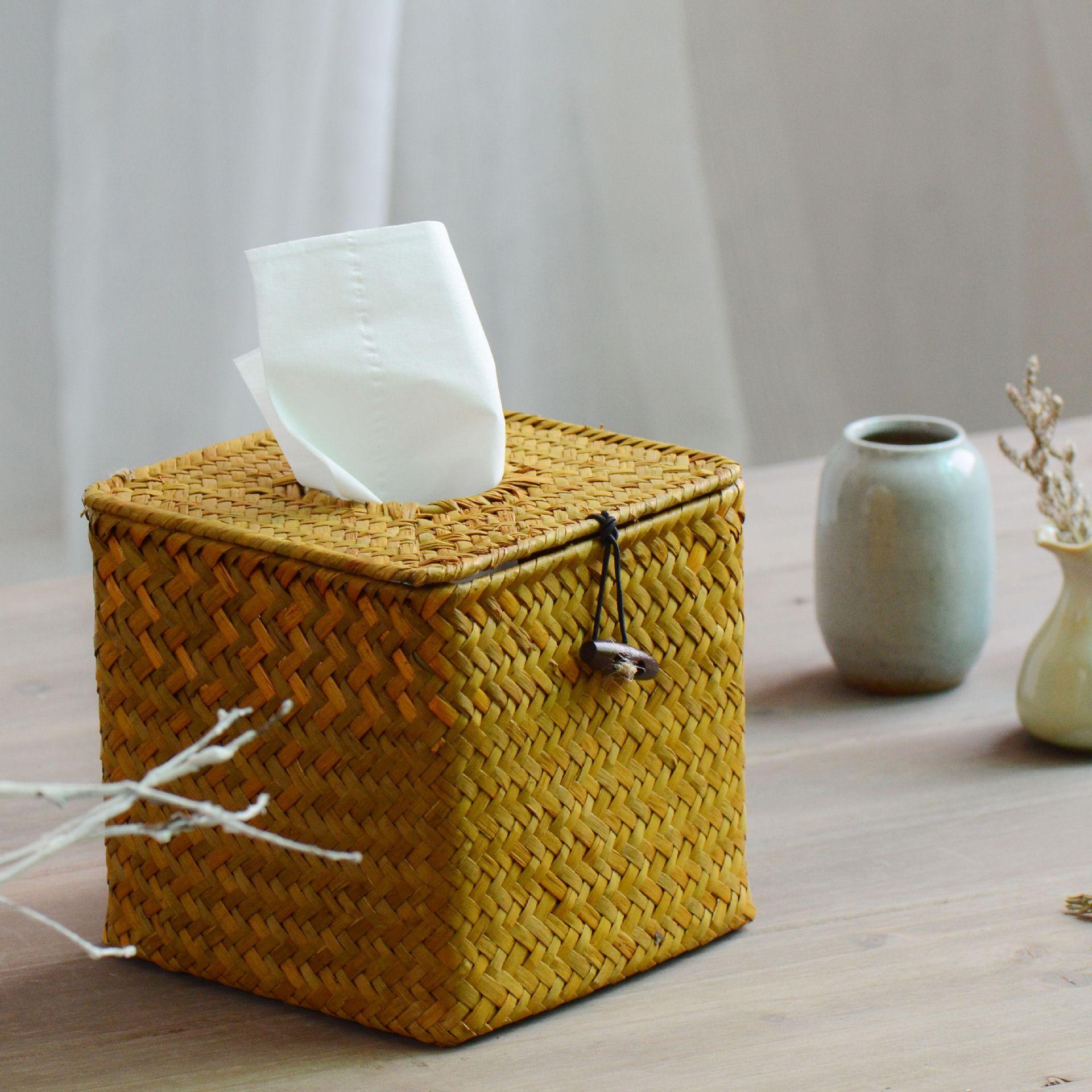 Wholesale  Pastoral Style Straw Tissue Box Ornament Storage Box Retro Rattan  Home Decorative Accessories Box Wine Accessories Accessories Box Box Lock  ...