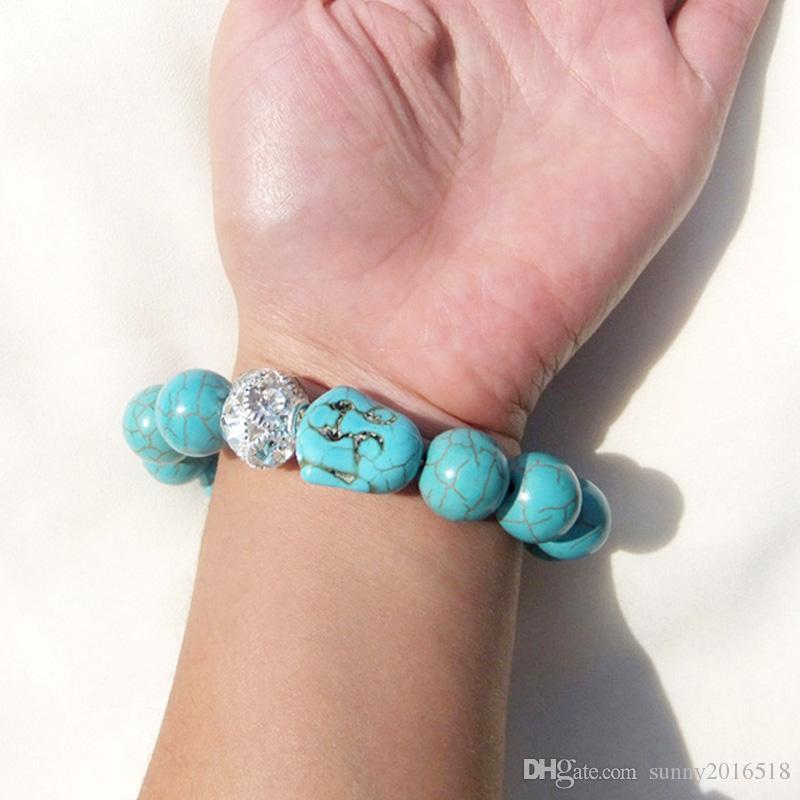 Vintage Buddha Bead Charm Bracelet Elastic Chain Natural Stone Turquoise Bracelets Shiny Crystal Ball Beaded Bangle for women men Jewelry