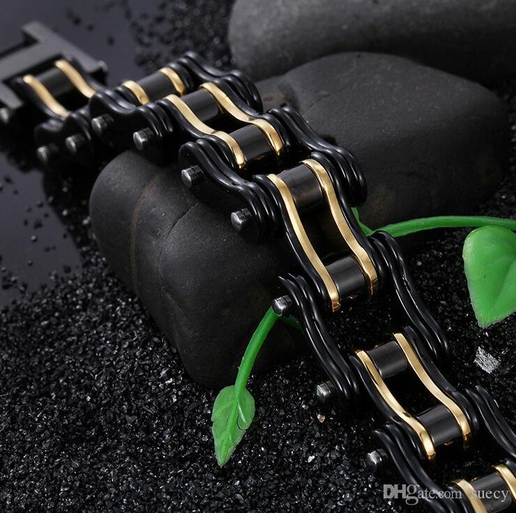 Moda Erkek Bisiklet Bilezik Biker Takı Altın Siyah Kaplama Paslanmaz Çelik Motosiklet Bisiklet Link Zinciri Bilezik 8.66