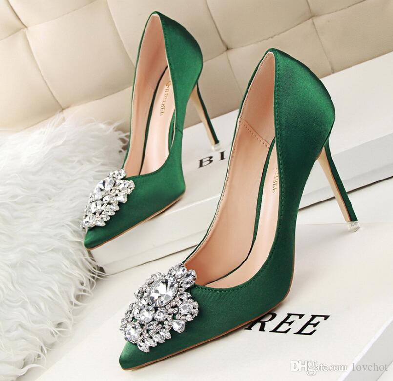 1fb5c6578610b1 New Spring Summer Women Pumps Elegant Buckle Rhinestone Silk Satin High  Heels Shoes Heeled Sexy Thin Pointed Single Shoes Womens Sandals Orthopedic  Shoes ...