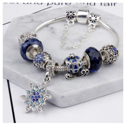 751f8d1ca Fashion Pandora Style Charm Bracelets Murano Glass Pumpkin Blue Crystal  European Charm Beads Fits Bracelets Snowflake Bangles DIY Jewelry Charms  Bracelet ...
