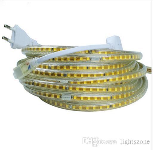 220V llevó la tira de luz SMD 2835 120Led / M impermeable IP65 llevó la luz de la cinta con el enchufe de alimentación de la UE 25m 50m 100m