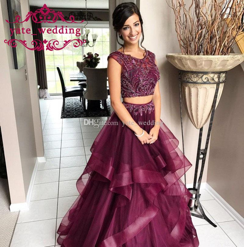 2018 Gorgeous Maroon Red Tulle Prom Dresses Sheer Neck Cap