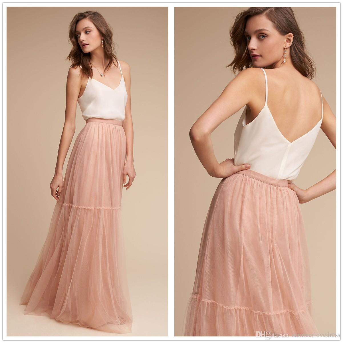 eb3e09a82 2017 Elegant Boho Two Pieces Tulle Long Bridesmaid Dresses Spaghetti Straps  Satin Top Floor Length Evening Party Prom Dresses Canada 2019 From ...