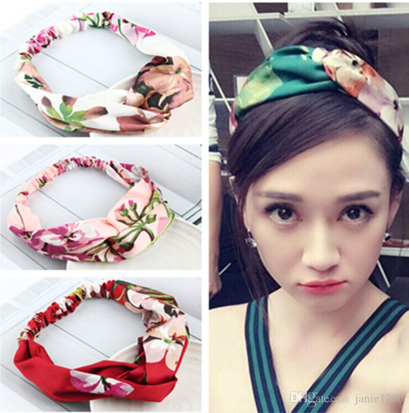 New Arrival Floral Silk Fabric Bow Knot Girls  Hairbands Women Hair ... e6fe845970e